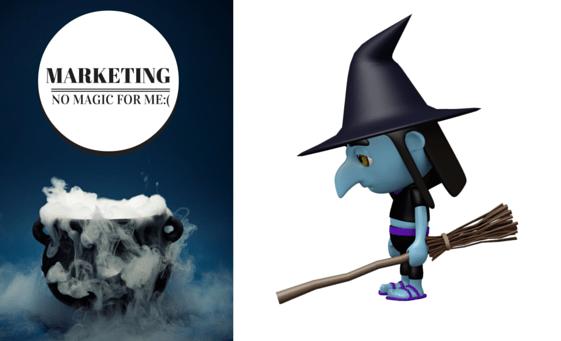 No Marketing Magic: writemixforbusiness.com sad witch graphic by Sue-Ann Bubacz