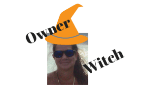 I like being self-employed. Sue-Ann Bubacz graphic of me in witch hat