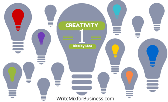 How to Cultivate Creativity One Idea at a Time title graphic by Sue-Ann Bubacz for writemixforbusiness.com