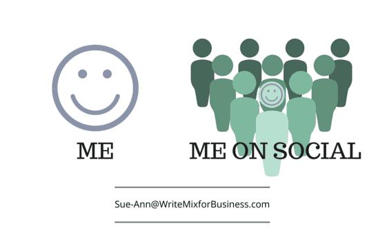Me and Social Me graphic by Sue-Ann Bubacz WriteMixforBusiness.com