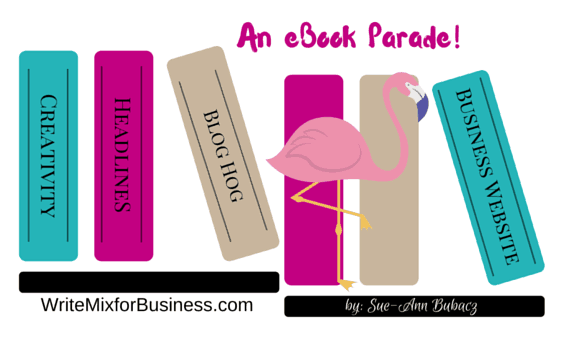 An eBook Parade! graphic for eBook resources by writemixforbusiness.com