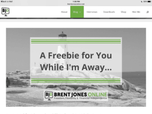 Brent Jones Branding Example for Write Mix for Business post by Sue-Ann Bubacz showing colors logo etc