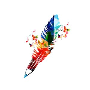Every Writer is Different Graphic with Pen swirling colors and music nots and creativity
