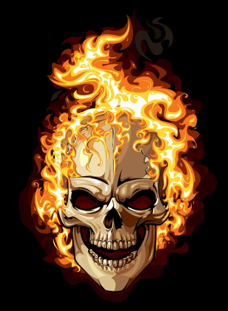 Skull Pic of Head on Fire for Write Mix for Business blog post Stop, Drop and Roll Section