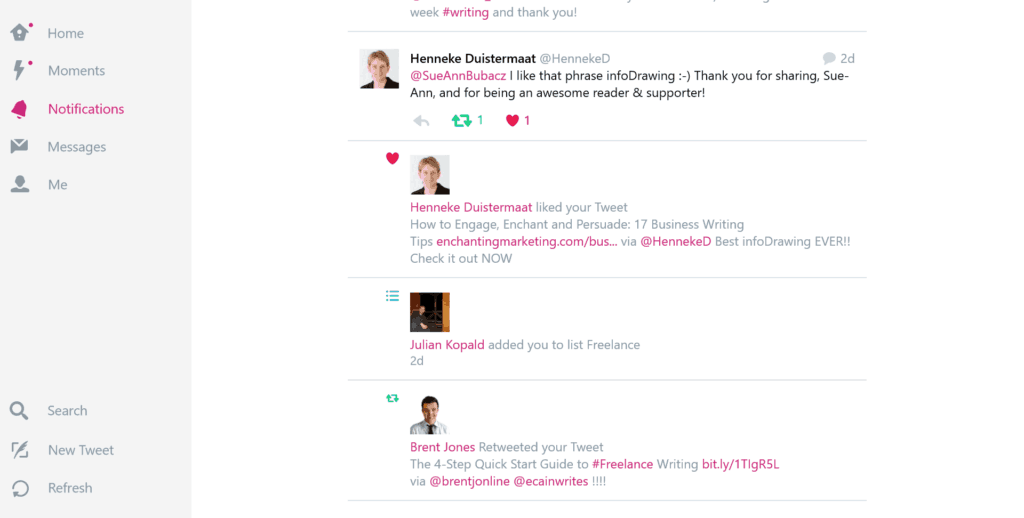 Example of Twitter interaction with HennekeD and Sue-Ann Bubacz for Write Mix for Business article