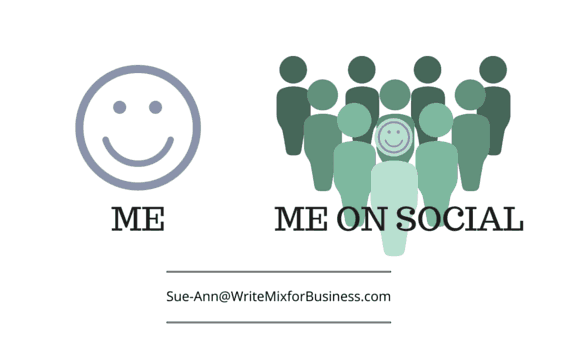 Me and Social Me graphic for Social Media Article by Sue-Ann Bubacz