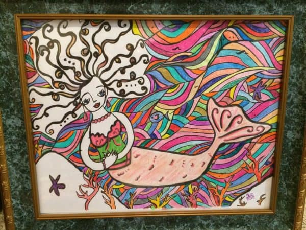 Plan with Pizzazz Visual of Leonie Dawson design pencil coloring of mermaid by Sue-Ann Bubacz