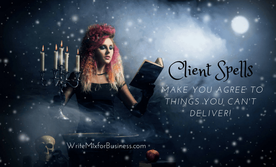 Casting a Spell Visual by Sue-Ann, Write Mix for Business Scary Customers Post