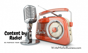 Content by Radio Post Title Visual of Old-fashioned Radio and Mic in Retro Peach for Write Mix for Business by Sue-Ann Bubacz