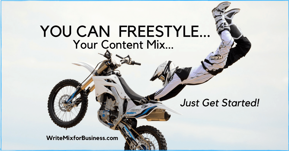 YOU Can Freestyle Your Content Mix...Just Get Started for Content by Audio post for Write Mix for Business by Sue-Ann Bubacz showing motox fressstyler in wide open air holding motorcycle from seat upside down