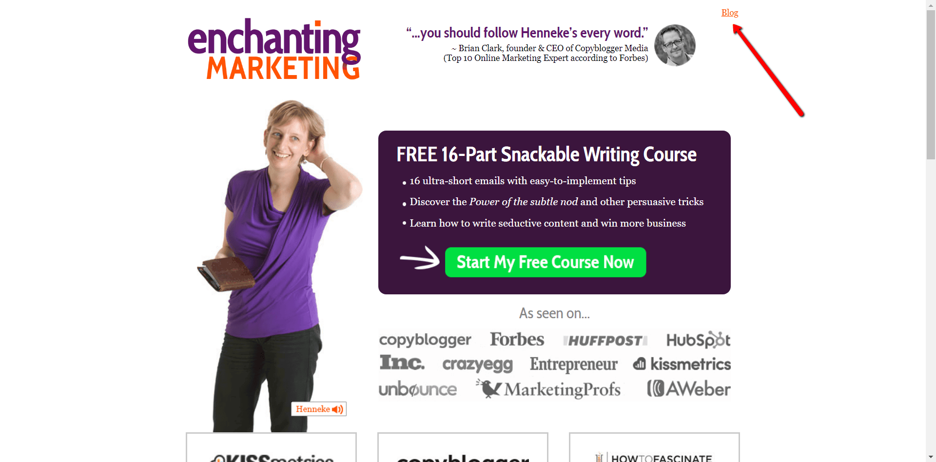 Henneke, Enchanting Marketing for a homepage example on Write Mix for Business