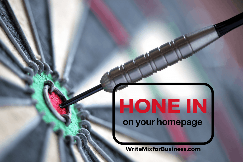 Hone in on Your Homepage Visual showing dart upclose to blurred dartboard for post by Sue-Ann Bubacz