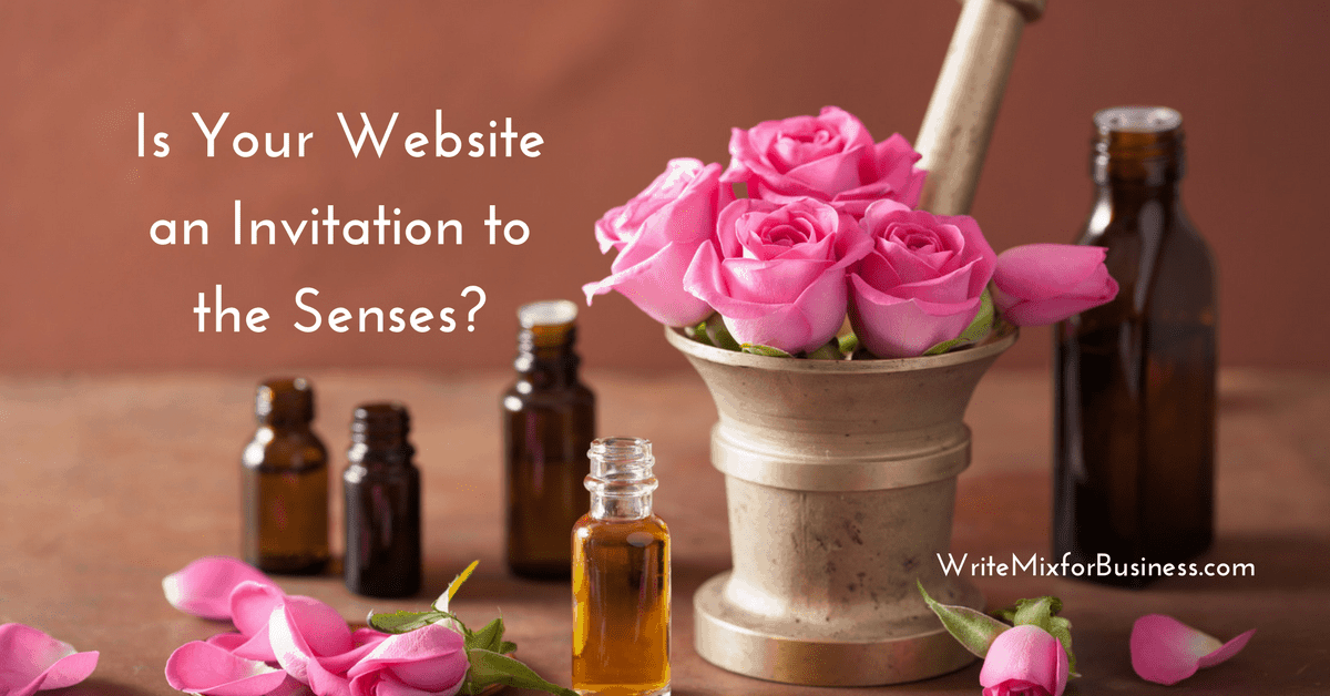 Is Your Website an Invitation to the Senses? title graphic for Does Your Website Invite Post by Sue-Ann Bubacz