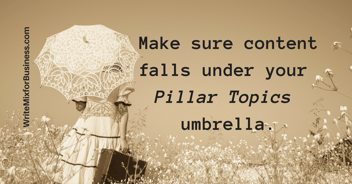 Make sure your content falls under the Pillar Topics umbrella.. visual 3 for Write Mix for Business by Sue-Ann Bubacz cornerstone content post showing little girl and lace umbrella walking away with back to front and lugging a suitcase