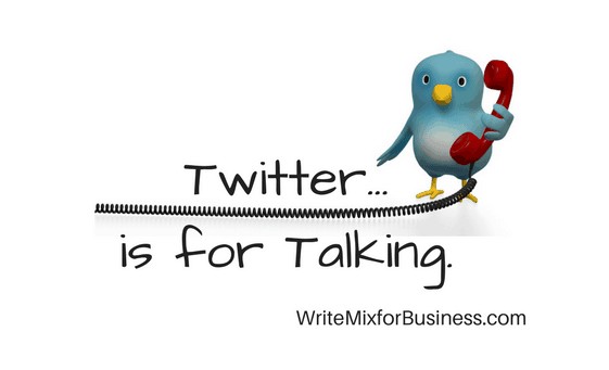 "Twitter is for Talking visual for Twitter post by Sue-Ann Bubaacz showing a bird with a red phone and telephone cord and the words, ""Twitter...is for Talking."