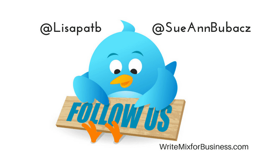 from post, is Twitter a pay to play network like Facebook? @Lisapatb @SueAnnBubacz is visual with twitter bird holding a follow us wooden sign and pointing to it visual for WriteMixforBusiness post by Lisa Sicard