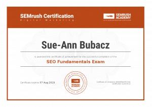 SemRush SEO Certificate for Sue-Ann Bubacz 2018 to 2019