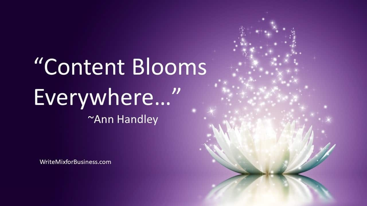 "Content Blooms Visual 2 for Write Mix for Business by Sue-Ann Bubacz with purple background and white flowering top opening with sparkles coming from the bloom with this copy ""Content Blooms Everywhere~Ann Handley"" a quote from Ann from post"