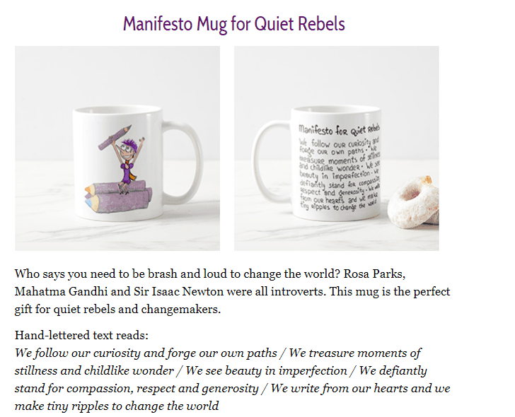Manifesto Mug for Quiet Rebels by Henneke for Write Mix for Business blog post by Sue-Ann Bubacz includes a mug picture and the wording on the mug from Enchanting Marketing