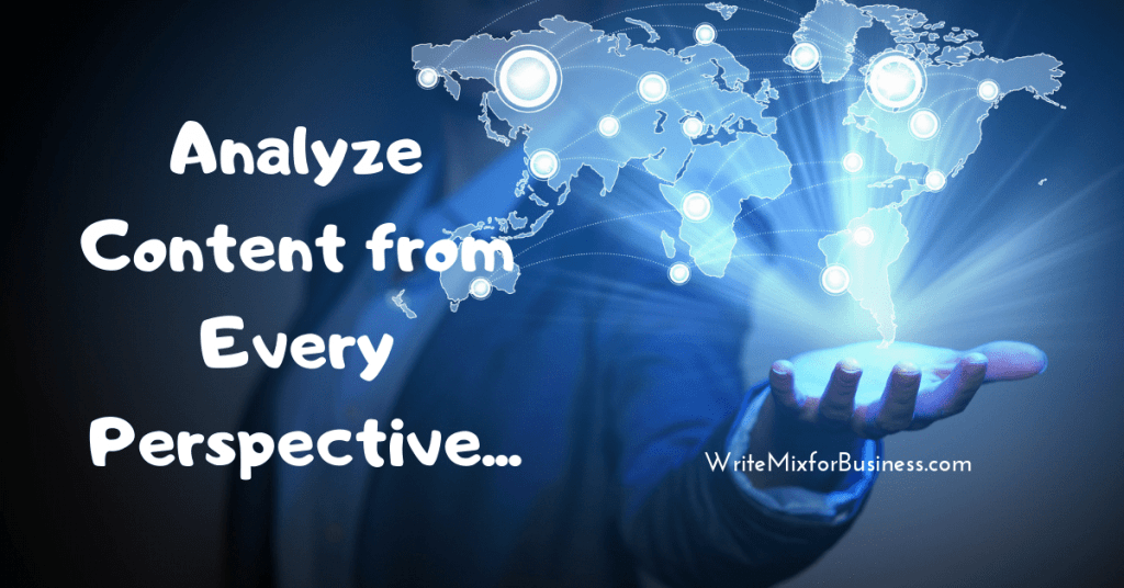 Analyze Content from Every Perspective is the text over a person with light and the word reflected from their hand in a blue color fade.