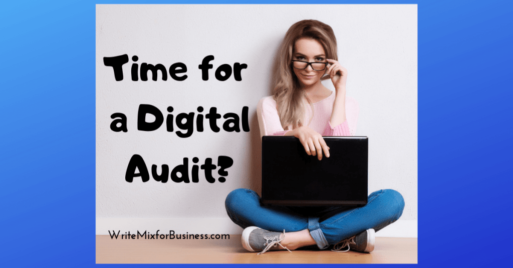 Time for a Digital Audit? says this title visual showing a lady sitting on the floor looking out the top of her glasses with a laptop on her lap. By Sue-Ann for WriteMixforBusiness,com post.