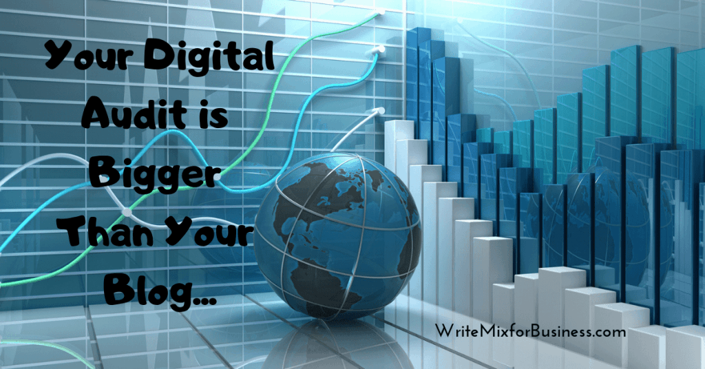 Your Digital Content is Bigger than Your Blog is the text over a 3D world and analytic graphic. By Sue-Ann for Write Mix for business blog post.