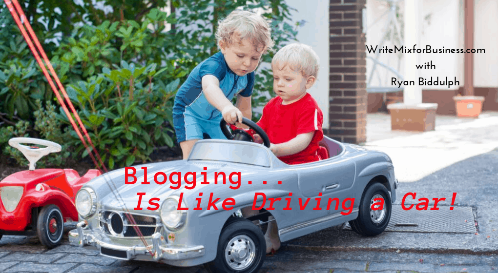 Title Image for Post Why Kids and Cars are Like blogging with image of small child sitting in miniature Mercedes with his slightly bigger big brother standing over pointing out dashboard workings