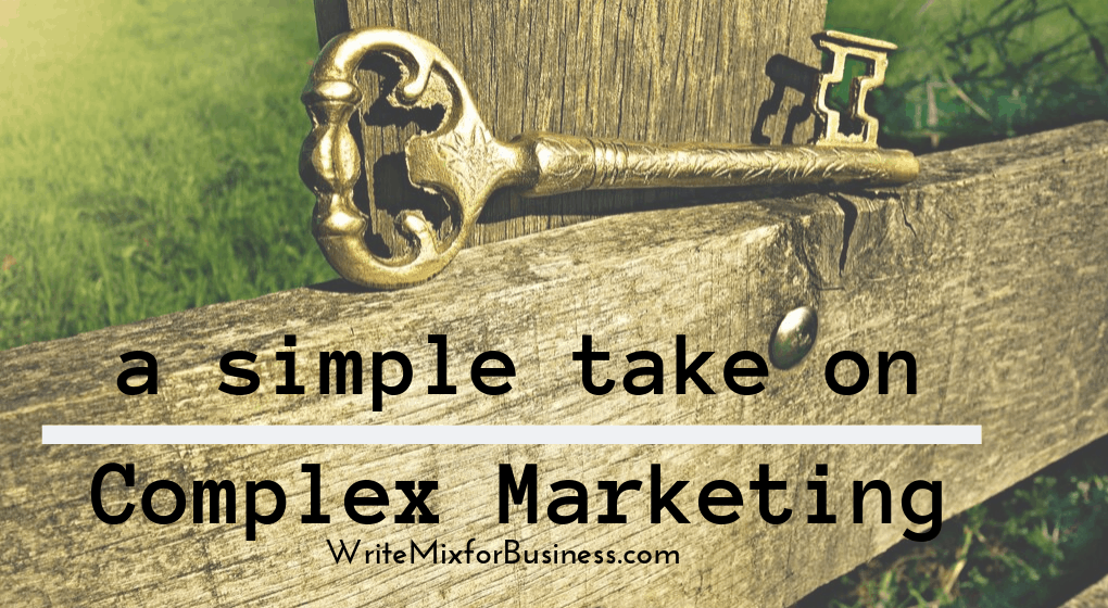 "a simple take on Complex Marketing is the copy on this title visual for post ""How to Make Marketing Magic Even for New Blogs"" showing a closeup wooden fence joint with old-fashioned gold key sitting on it by Write Mix for Business blog"