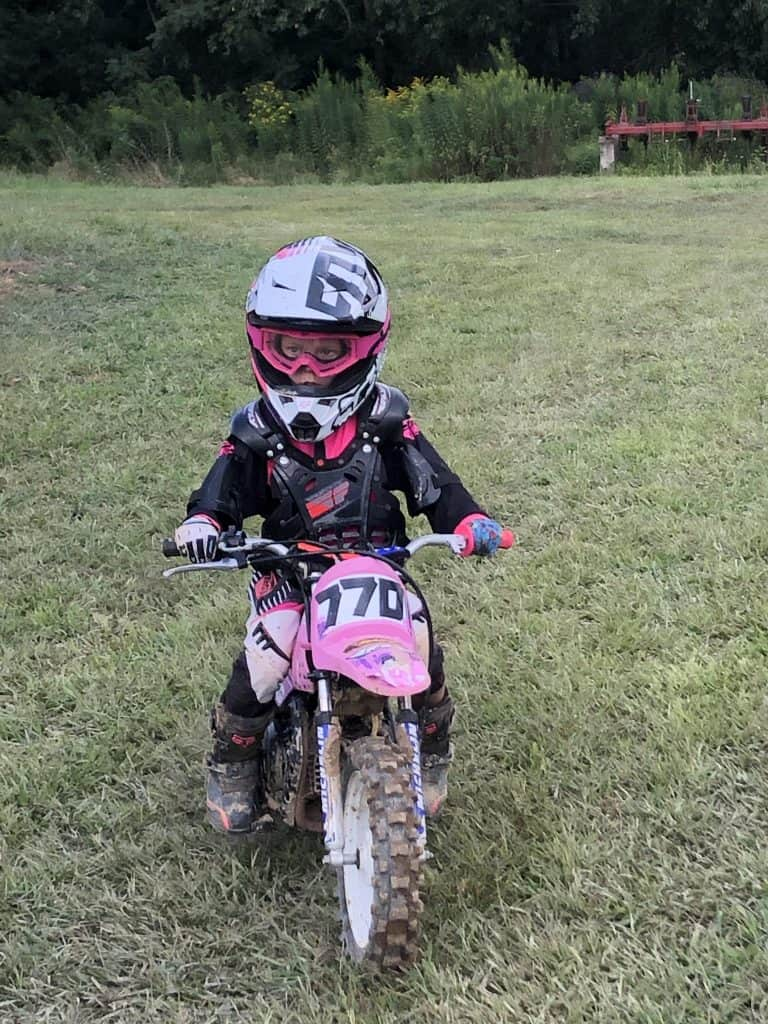 Ryder Wetzel practicing for races on her Yamaha 50cc bike!