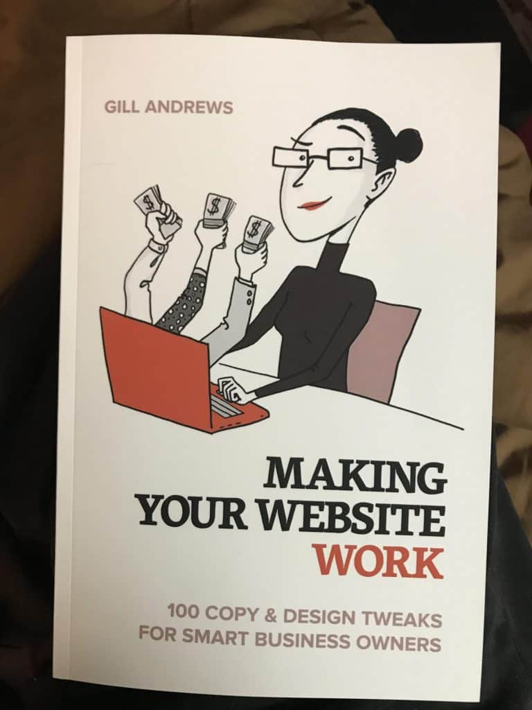 How to make your website work post title visual showing Gill Andrews book.