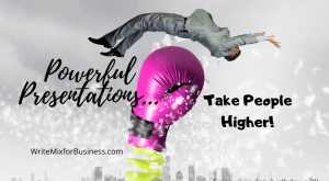 Powerful Presentations...Take People Higher is the copy on this Title Visual.