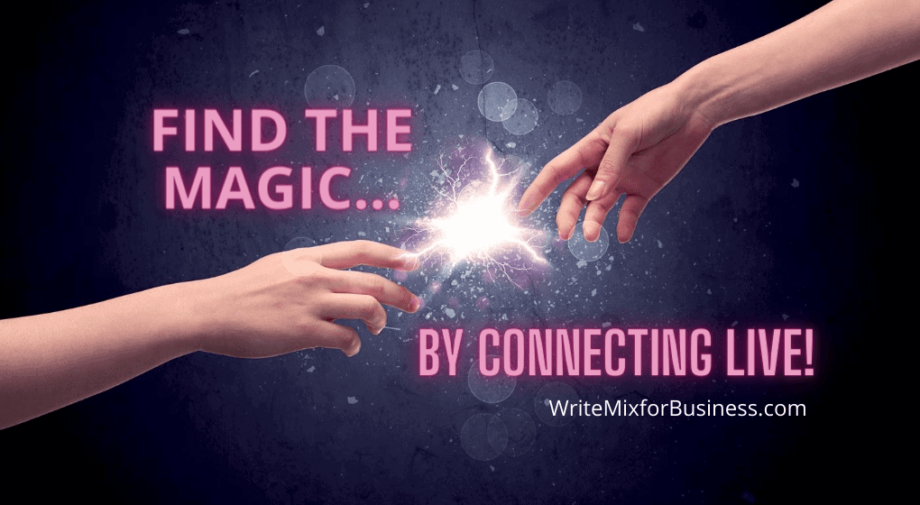 FInd the Magic...By Connecting LIVE! Title Visual for LIVE Streaming Video Post.