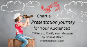 "A Presentation Process Title Visual with the Text, ""Chart a Presentation Journey for your Audience...7 Filters to Clarify Your Message by Donald Miller post by Sue-Ann Bubacz"