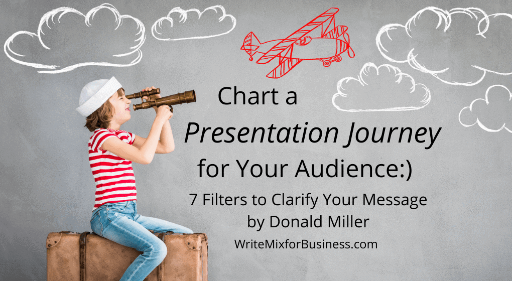 a Presentation Process Title Visual saying, Chart a Presentation Journey for Your Audience...7 filters to Clarify Your Message by Donald Miller