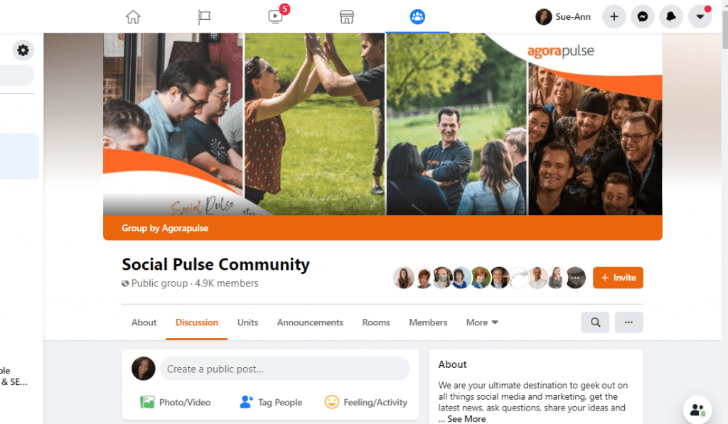 Photo of the Agorapulse Facebook Group Page, Social Pulse Community