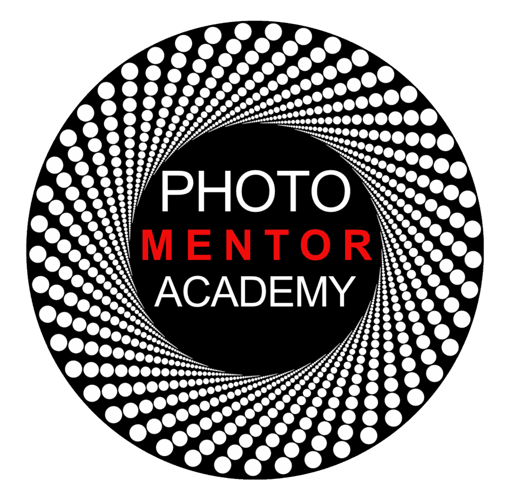 """Lee Love's, referenced for tips to find your artist's eye, Photo Mentor Academy Logo, a rendition of a camera lens with wording, """"Photo Mentor Academy"""" in middle."""
